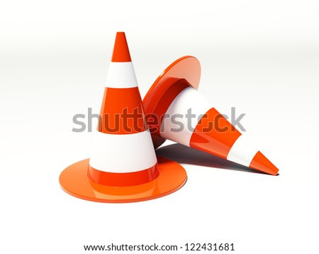 traffic cones 3d on the white background