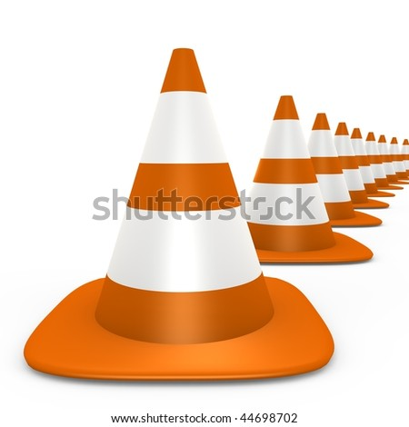 Traffic cones fading to the background - 3d image - stock photo