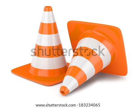 Traffic cones isolated on white background - stock photo