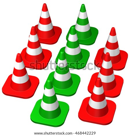 Traffic cones , isolated on white background. 3D rendering.