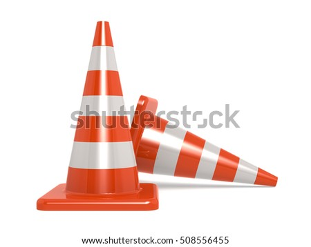Traffic cones isolated on white, 3D rendering