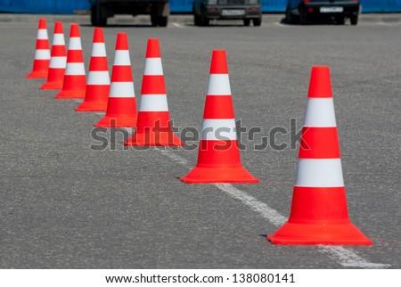 Traffic cones on road - stock photo