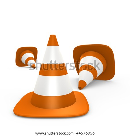 Traffic cones on the ground - 3d image - stock photo