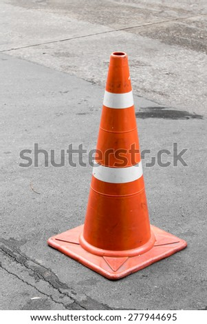 Traffic cones on the road - stock photo