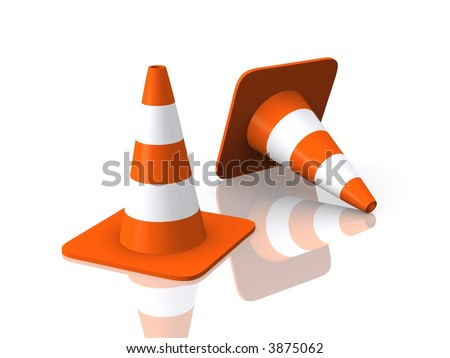 Traffic Cones Reflected - stock photo