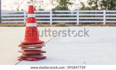 Traffic cones stacked - stock photo