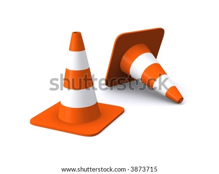 Traffic cones with cutted vertex - stock photo