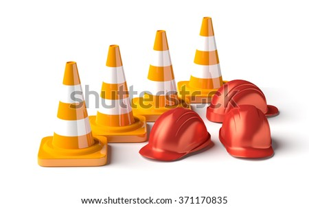 Traffic cones with work helmet isolated on the white. 3D render image. - stock photo