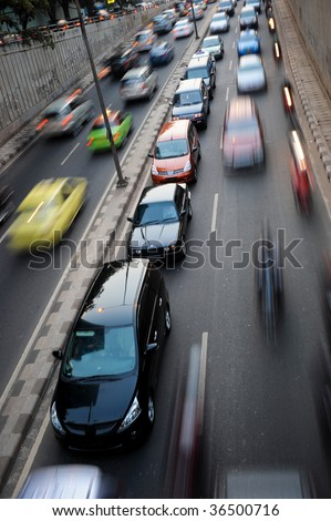 Traffic congestion in Jakarta, Indonesia - stock photo