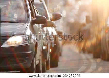 traffic congestion Russia - stock photo