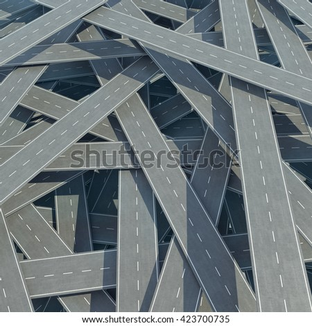 Traffic congestion, tangled road, top view. 3d illustration - stock photo
