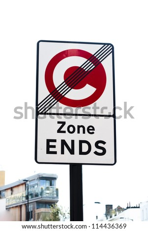 Traffic Congestion Zone Ends sign