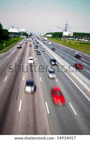Traffic flow on the highway in Moscow - stock photo