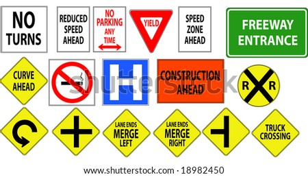 Traffic, Freeway, Highway Signs 2 - stock photo