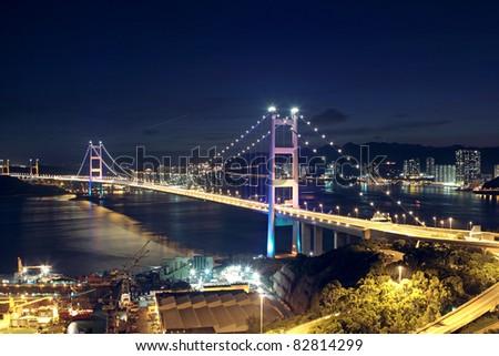 traffic highway bridge at night,hong kong - stock photo