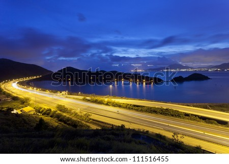Traffic highway in city at night - stock photo