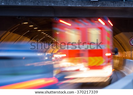 traffic in a tunnel background - stock photo
