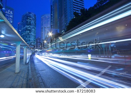 Traffic in city at night in blurred motion