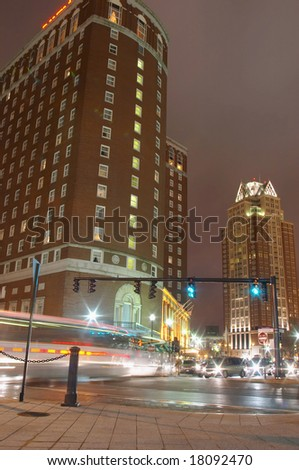Traffic in city streets of downtown Providence, Rhode Island at night - stock photo