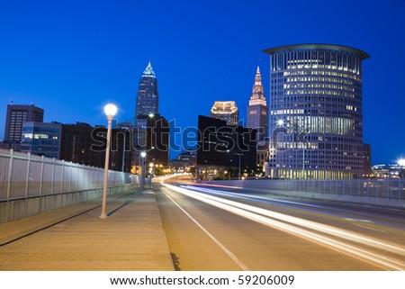 Traffic in Cleveland,Ohio, USA. - stock photo