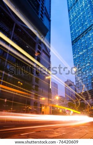 traffic in downtown of Hong Kong at dusk - stock photo