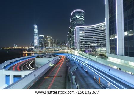 Traffic in Hong Kong at dusk  - stock photo