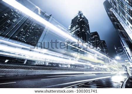traffic in Hong Kong at night - stock photo