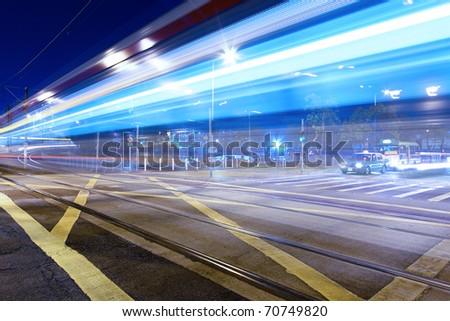 Traffic in Hong Kong at night - stock photo