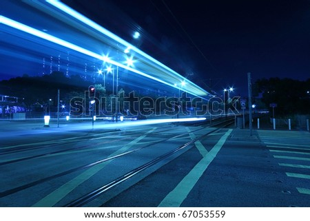 Traffic in Hong Kong, light rail. - stock photo