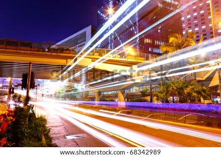 traffic in mega city - stock photo