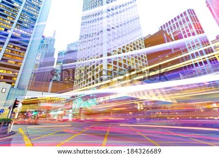traffic in modern city  - stock photo