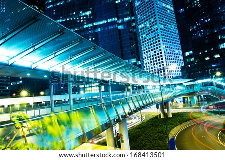 traffic in modern city at night, Hong Kong.