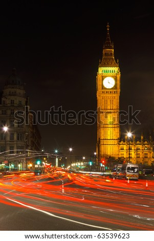 Traffic in night London, UK - stock photo