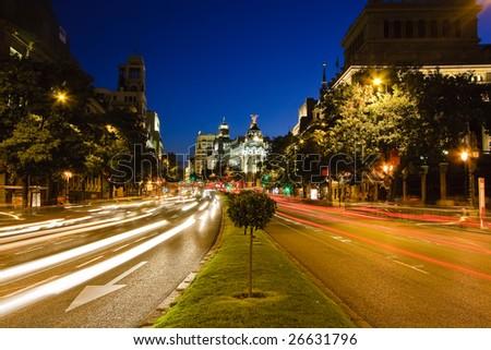 Traffic in night Madrid, Spain - stock photo