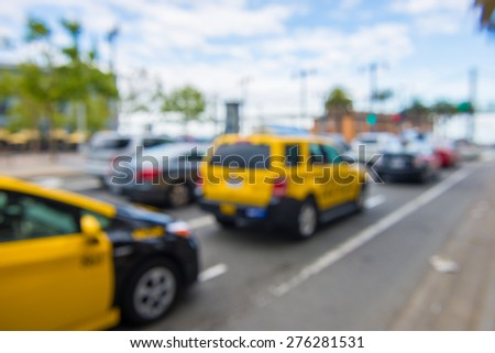 Traffic in San Francisco during rush hour with blurred  background - stock photo