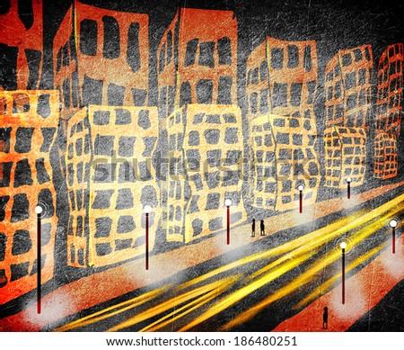 traffic in the city orange and black digital illustration - stock photo