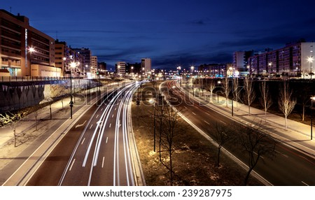 Traffic in the city.Road at night - stock photo