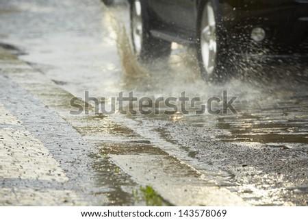 Traffic in the heavy rain - Prague - stock photo
