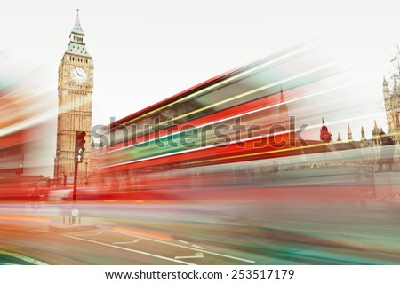 Traffic in Westminster. London - stock photo