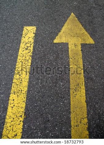 Traffic indicator on the asphalt - stock photo