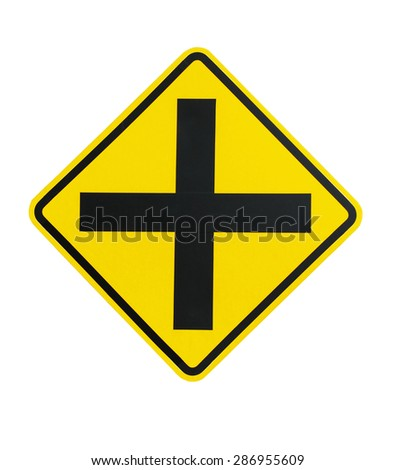 Traffic Intersection sign on isolated white - stock photo