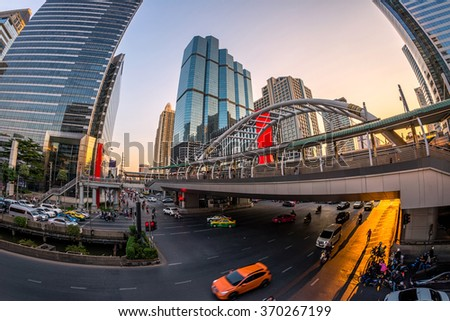 "Traffic jam at ""sathorn road"" sunset downtown bangkok city thailand  - stock photo"