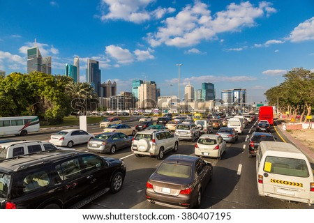 Traffic jam at Sheikh Zayed Road in Dubai in a summer day - stock photo