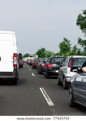 Traffic jam before rain - stock photo