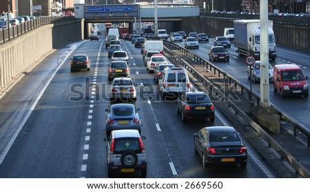 Traffic Jam during rush hour, Glasgow, Scotland - stock photo