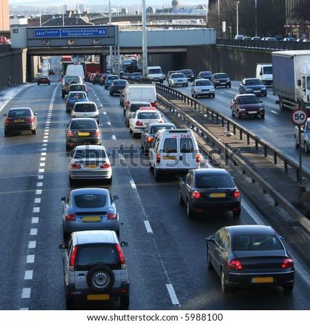 Traffic Jam, Glasgow, Scotland - stock photo