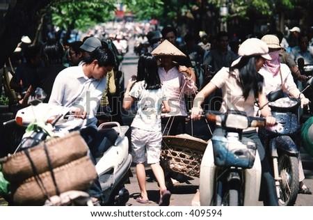 Traffic jam in Hanoi, Vietnam - stock photo
