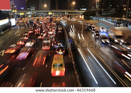 Traffic jam in Hong Kong at night - stock photo
