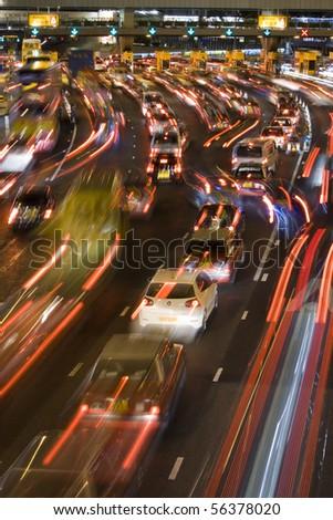 traffic jam in hong kong at night - stock photo