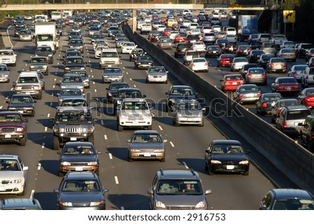 Traffic jam in Los Angeles - stock photo